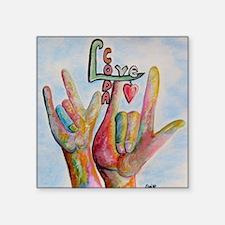"""Cute Deaf culture Square Sticker 3"""" x 3"""""""