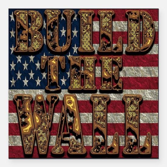 """Build Wall Flagusa Square Car Magnet 3"""" X 3&q"""
