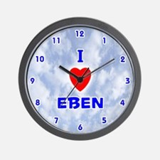 I Love Eben (Blue) Valentine Wall Clock