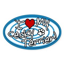 Hypno I Love My Cesky Terrier Oval Sticker Blue