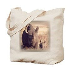Rhinoceros and Baby Tote Bag