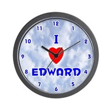 I Love Edward (Blue) Valentine Wall Clock