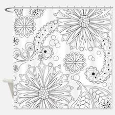 Flower Garden Galaxy Shower Curtain