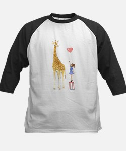 Giraffe with little girl and balloon Baseball Jers
