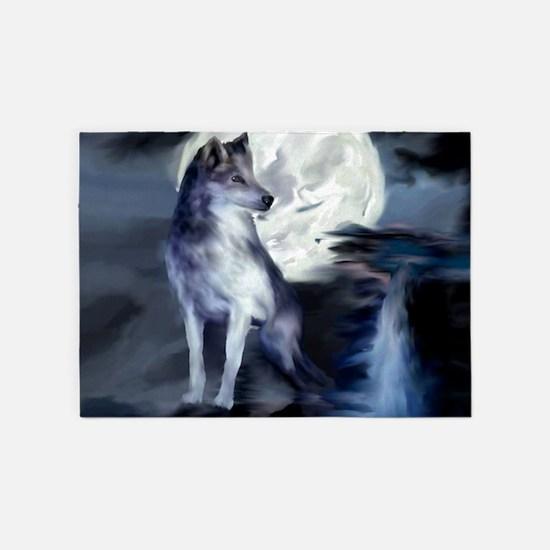 Midnight Wolf 5'x7'Area Rug