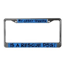 Rescue Dog Cesky Terrier License Plate Frame
