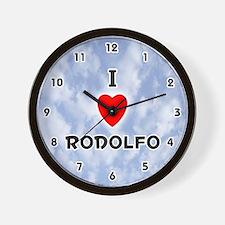 I Love Rodolfo (Black) Valentine Wall Clock