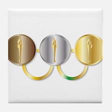 Medal Olympic Rings Tile Coaster