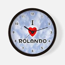 I Love Rolando (Black) Valentine Wall Clock