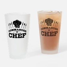 Funny Commander and chef Drinking Glass