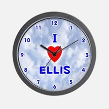 I Love Ellis (Blue) Valentine Wall Clock