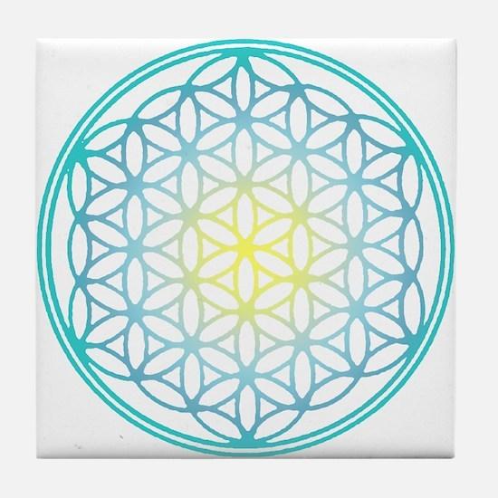 Flower of Life - Aqua Tile Coaster