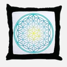 Flower of Life - Aqua Throw Pillow