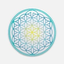 Flower of Life - Aqua Ornament (Round)