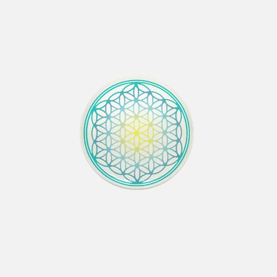 Flower of Life - Aqua Mini Button