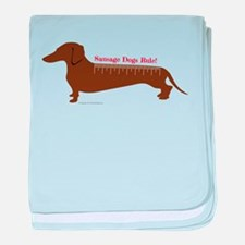 Sausage Dogs Rule baby blanket