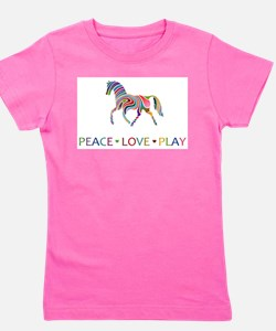 Rainbow horse peace love play T-Shirt