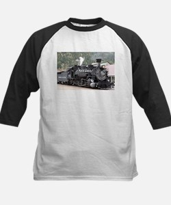 Steamy!: steam train engine, Color Baseball Jersey
