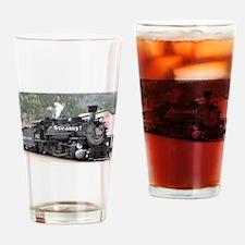 Steamy!: steam train engine, Colora Drinking Glass