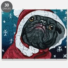 Black Pug Santa Christmas Puzzle