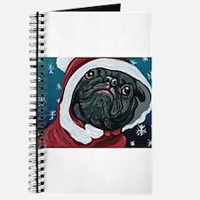 Black Pug Santa Christmas Journal