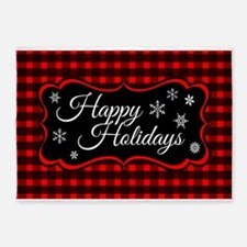 Red Black Tartan Happy Holidays 5'x7'Area Rug