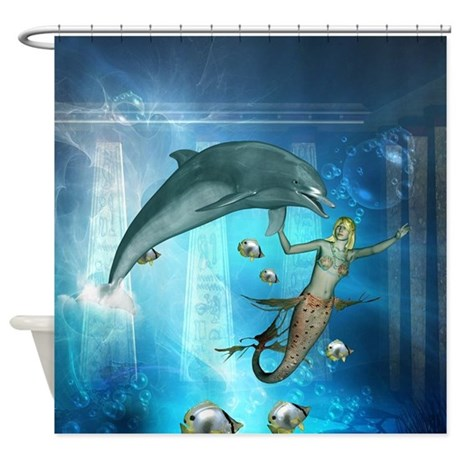 Mermaid Playing With A Dolphin Shower Curtain