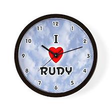 I Love Rudy (Black) Valentine Wall Clock