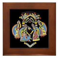 Gopinis Playing With Krishna Framed Tile