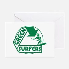 Green Surfers Greeting Card