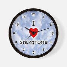 I Love Salvatore (Black) Valentine Wall Clock
