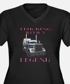 Trucking With A Legend Women's Plus Size V-Neck Da