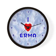 I Love Erma (Blue) Valentine Wall Clock