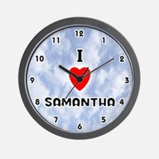 I Love Samantha (Black) Valentine Wall Clock