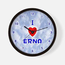 I Love Erna (Blue) Valentine Wall Clock