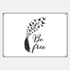 Be free, feather with flying birds Banner