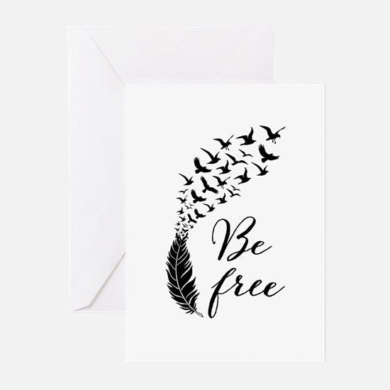 Be free, feather with flying birds Greeting Cards