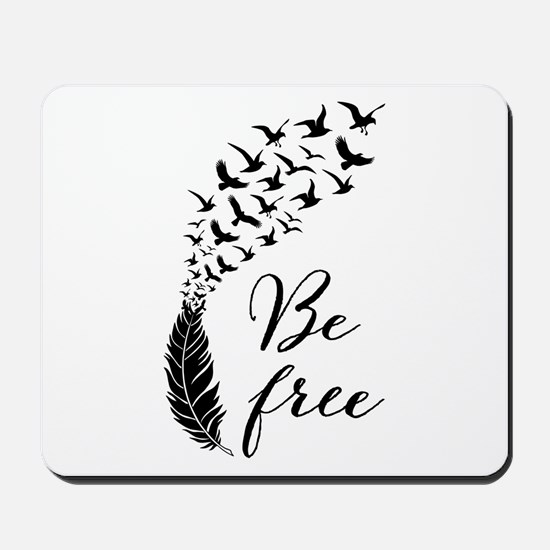 Be free, feather with flying birds Mousepad