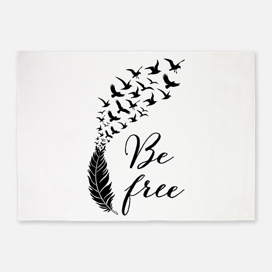 Be free, feather with flying birds 5'x7'Area Rug