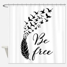Be free, feather with flying birds Shower Curtain