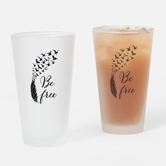 Be free, feather with flying birds Drinking Glass