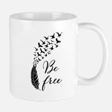 Be free, feather with flying birds Mugs