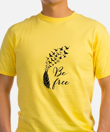 Be free, feather with flying birds T-Shirt