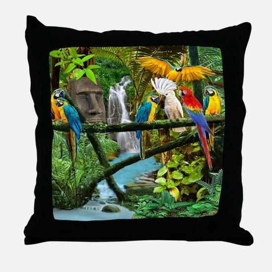 Parrots of the Hidden Jungle Throw Pillow