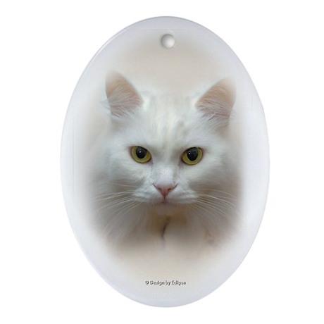 White Cat Oval Ornament