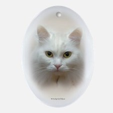 White Cat Oval Ornament