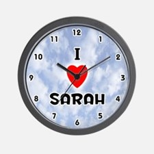 I Love Sarah (Black) Valentine Wall Clock