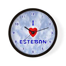 I Love Esteban (Blue) Valentine Wall Clock