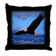 Soaring Bald Eagle Throw Pillow