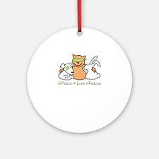 peace love rescue Round Ornament